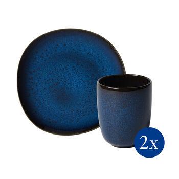Lave set de desayuno, 4 piezas, para 2 personas, azul