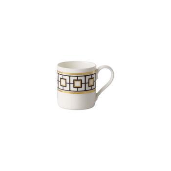 MetroChic taza para moca y expreso, 80 ml, blanco, negro y oro