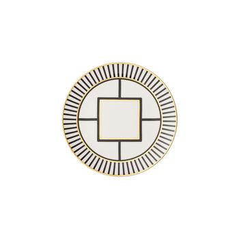 MetroChic plato de postre y desayuno, blanco, negro y oro