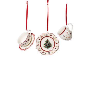 Toy's Delight Decoration set de vajilla de decoración, blanco/rojo, 3 piezas, 6,3 cm