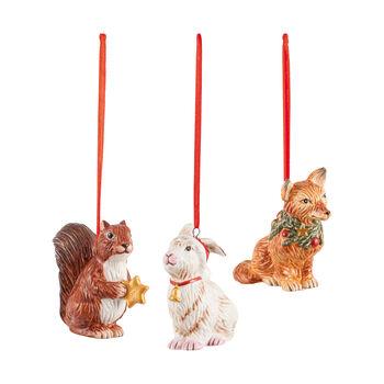 Nostalgic Ornaments set de ornamentos con motivo de animales del bosque, 6 x 7 cm, 3 artículos