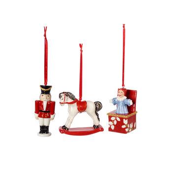 Nostalgic Ornaments set de ornamentos con motivos de juguetes, varios colores, 3 piezas, 9,5cm