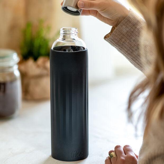 ToGo&ToStay botella de cristal, 1l, con revestimiento de silicona, negro, , large