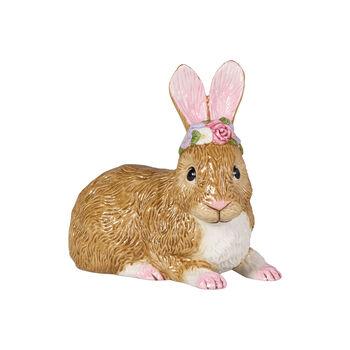 Easter Bunnies Conejo grande, acostado corona de flores 13x8x13cm