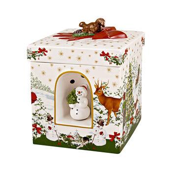 Christmas Toys figura de paquete de regalo grande y cuadrado con árbol de Navidad, 16 x 16 x 21,5 cm