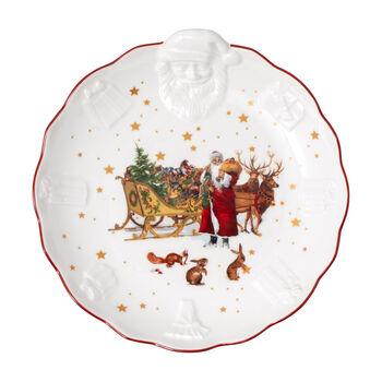 Toy's Fantasy fuente con motivo nostálgico en relieve de Papá Noel, varios colores/rojo/blanco, 24 x 25 x 4,6 cm