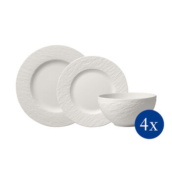 Manufacture Rock blanc Set platos, 12pzs,4 personas
