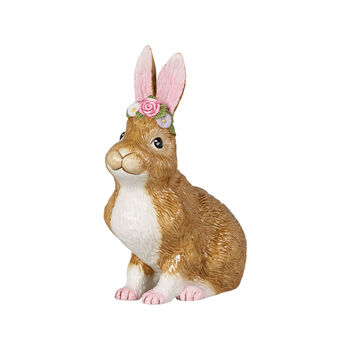 Easter Bunnies Conejo grande, sentado corona de flores 14x9x19cm
