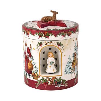 Christmas Toys figura de paquete de regalo grande y redondo con Niño Jesús, 17 x 17 x 21,5 cm