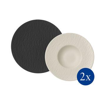Manufacture Rock set para pasta, 4 artículos, para 2 personas, negro/blanco