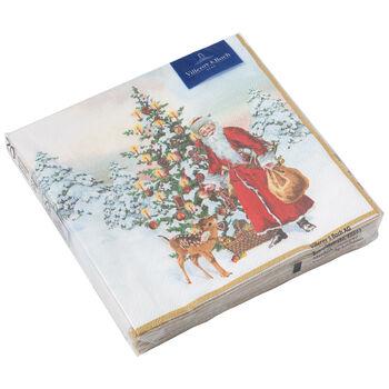Winter Specials L-Servilleta Papa Noel con abeto, 20 unidades, 33x33cm