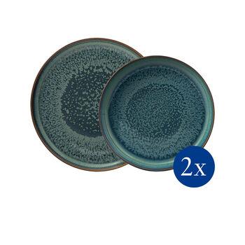 Crafted Breeze set de mesa, gris azulado, 4 artículos