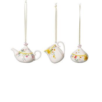 Spring Awakening ornamentos para set de café, 3 artículos, amarillo/varios colores
