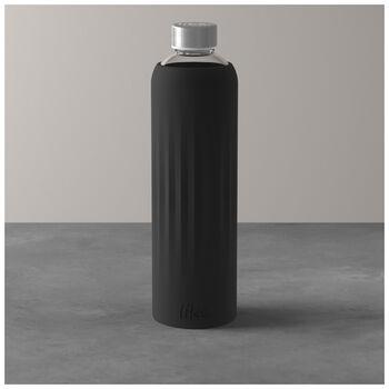 ToGo&ToStay botella de cristal, 1l, con revestimiento de silicona, negro