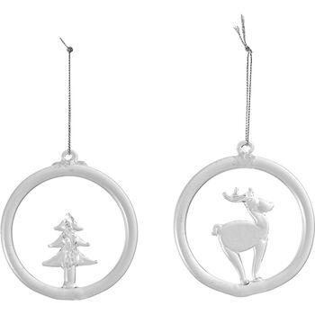 Christmas Decoration Colgantes de cristal con motivos de reno y árbol, 8,5 cm