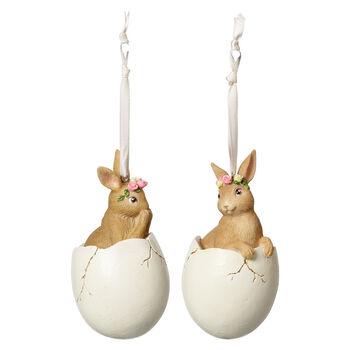 Spring Fantasy Accessories Set de 2 conejos en huevo 5,9x5,9x10,8cm
