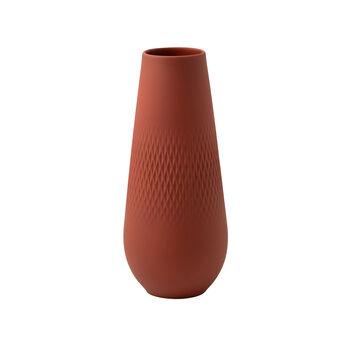 Manufacture Collier terre jarrón alto, Carré, 11,5 x 11,5 x 26 cm