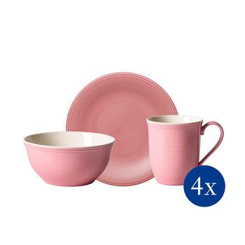 Color Loop Rose set de desayuno, rosa, 12 piezas
