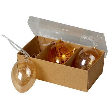 Spring Fantasy Accessories Set de 3 huevos de vidrio 9x6cm