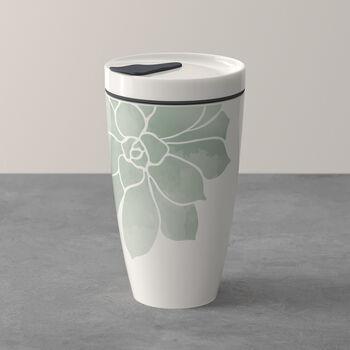 To Go Taza grande de café con motivos de plantas suculentas