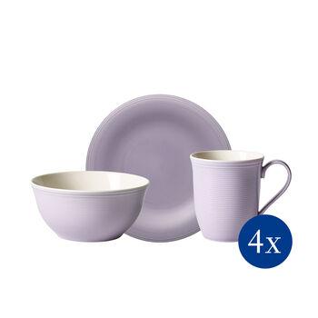 Color Loop BlueBlossom set de desayuno, lila, 12 piezas