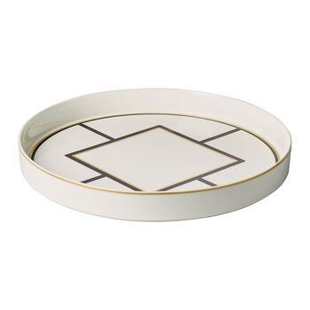 MetroChic fuente decorativa y para servir, diámetro de 33 cm, profundidad de 4 cm, blanco, negro y oro