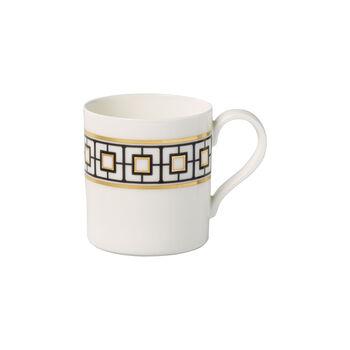 MetroChic taza grande de café, 11 x 8 x 9 cm, blanco, negro y oro