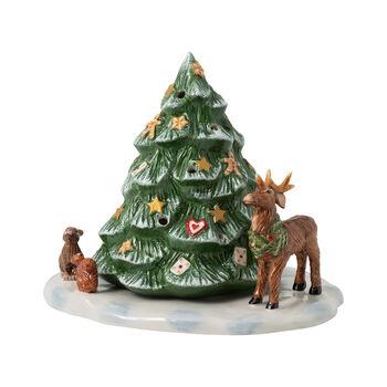 Christmas Toys figura de árbol de Navidad con animales del bosque, 23 x 17 x 17 cm